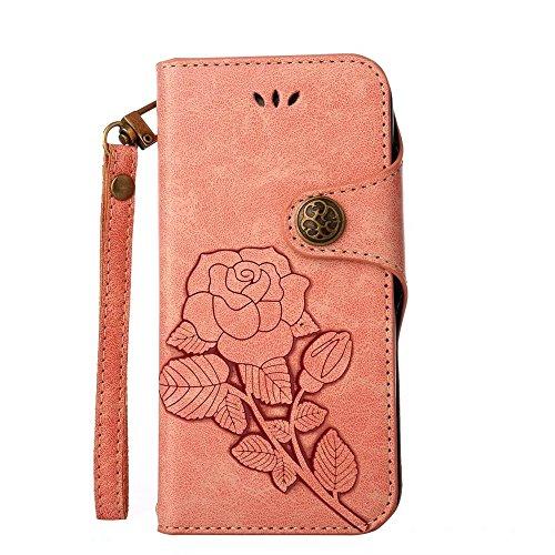 JIALUN-Telefon Fall Für IPhone X, mit Lanyard, magnetischer Schnalle Die Rosen öffnen die Telefon-Shell ( Color : Khaki ) Pink