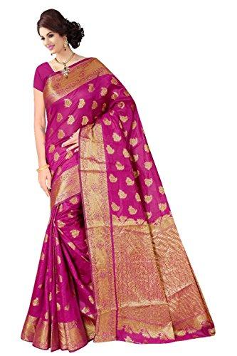 Boutique On Palm Bollywood Style New Generation Concept Party Wear Saree Banarasi Silk Sarees (Rani Jacquard Soft Bird Panel Angle Pallu)