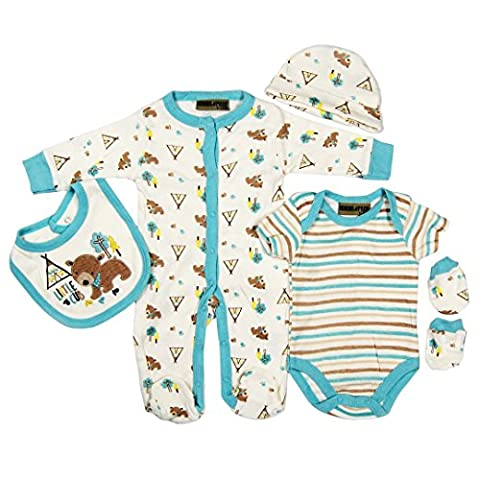 5 piece Layette Set Clothes Packs for Baby Boys Girls Infants Unisex Newborn Outfits Christening Christmas Birthday Gifts Sets from Auntie Grandma 100% cotton 0 0-3 3-6 months Bear