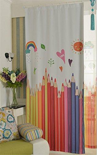 Gym83 tende della finestra gymnljy camera da letto oscuramento riduzione del rumore 3d cartone animato matite colorate stampa tende per bambini 1,4 * 2,7 m (1 pannelli), 1