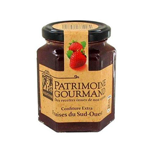 Patrimoine gourmand confiture extra fraises du Sud-Ouest 325g - ( Prix Unitaire ) - Envoi Rapide Et Soignée