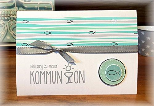 Einladung Einladungskarte Kommunion Konfirmation Fisch personalisierbar mint silber grau