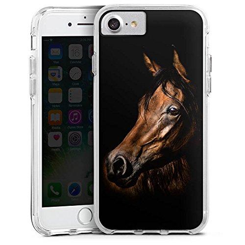 Apple iPhone 7 Bumper Hülle Bumper Case Glitzer Hülle Pferd Horse Braun Bumper Case transparent