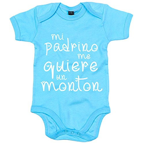 Body bebé Mi padrino me quiere un montón - Celeste, 6-12 meses