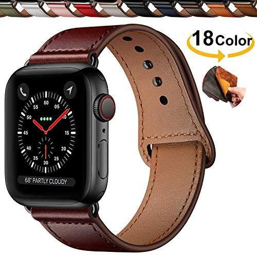 Chok Idea Innovador Hebilla Piel Genuina Correa Compatible with Apple Watch 42mm 44mm,Encubierto Hebilla Ensure Clean Fit Correa Replacment for iWatch Series 5 & 4 3/2/1,Reddish Brown