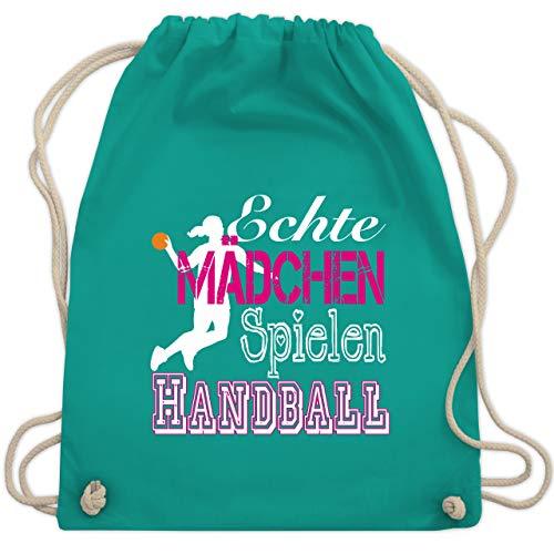 Shirtracer Handball - Echte Mädchen Spielen Handball weiß - Unisize - Türkis - WM110 - Turnbeutel und Stoffbeutel aus Bio-Baumwolle