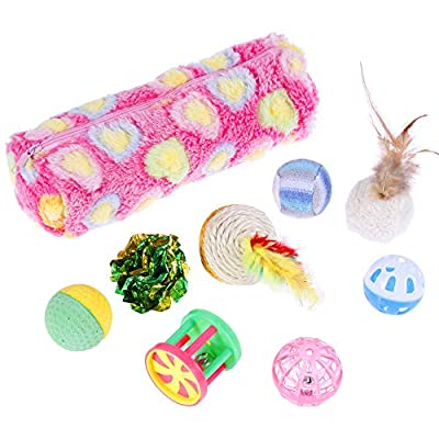 Nabance Cat Toys Kitten Toys 20PCS Cat Toys for Indoor Cats Cat Catnip Toys Cat Balls Cat Feathers Wand Interactive Cat Toys Indoor Set for Kitty and Cats by Nabance