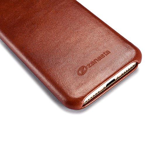 zanasta Echt Ledertasche iPhone 8 / iPhone 7 Lederhülle Echt Leder Tasche Hülle Premium Schutzhülle Flip Case mit Klappverschluss Glattleder Oberfläche | Vintage Braun Braun