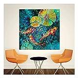 XIAOXINYUAN Poster Gedruckt Kunst Malerei Seerose und Fisch Wandbilder Für Wohnzimmer Dekoration Moderne Textur Kunst 50X50 cm