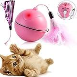 DYBOHF Katzenspielzeug elektrisch Ball, Mit eingebautem Akku [USB-Ladevorgang] 360 Grad-selbstdrehender Ball, LED Licht - Abnehmbarer Feder Interaktives Spielzeug (Rosa)