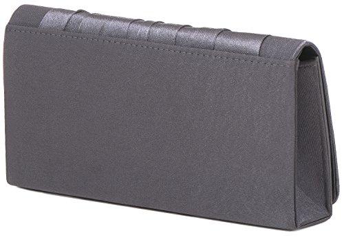 VINCENT PEREZ Borsetta, Borsa a tracolla, Pochette di raso increspato con strass eleganti e tracolla rimovibile (120cm) grigio scuro