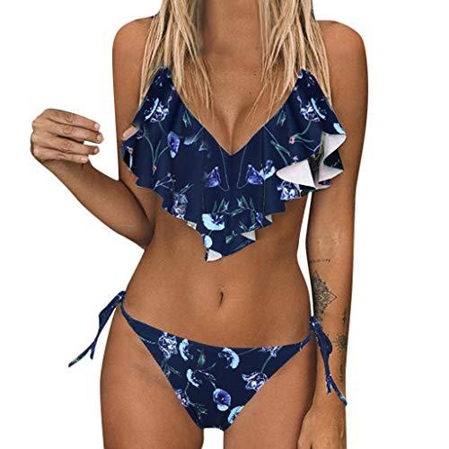 Sommer Sexy Bikini Damen Set Hohe Taille Blumendruck Tankini Bademode Zweiteilig Badeanzug Große Größen Zweiteilige Strandkleidung Badeanzug mit Volant -