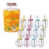 Schramm® Getränkespender Set inklusive 12 Trinkgläser mit Deckel und Strohhalm Zapfhahnflasche ca. 7 Liter Saftkanne mit Zapfhahn Trinkglas Glas Gläser Trinkgläser Cocktail