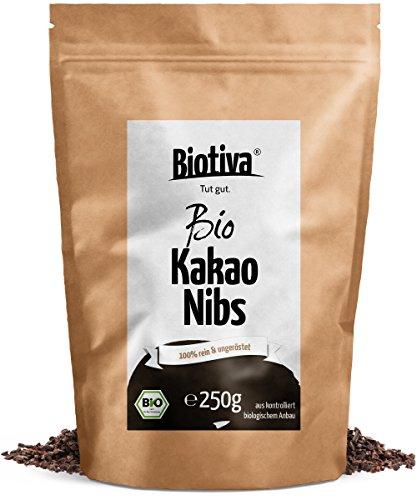 Kakao-Nibs ungeröstet (Bio, 250g) // 100% Bio-Qualität - wiederverschließbarer Frischebeutel - Rohe Kakaonibs - abgefüllt und kontrolliert in Deutschland (DE-ÖKO-005)