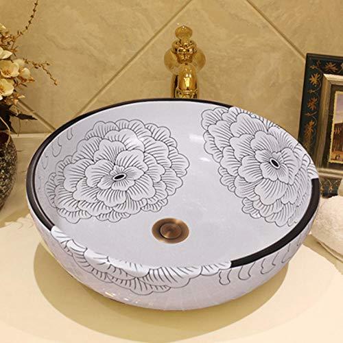 Gorheh lavandino del bacino di arte del lavandino del bagno di ceramica del lavandino bianco artistico moderno moderno del vaso fatto a mano cinese del fiore