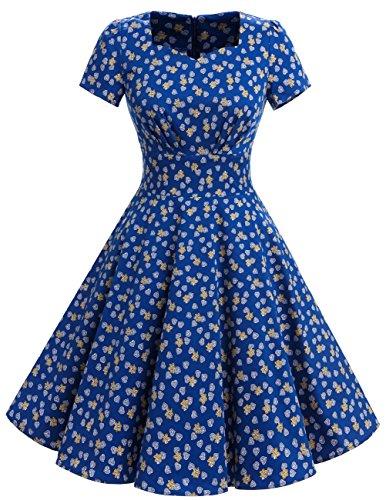 Dresstells Damen Vintage 50er Rockabilly kurzarm Swing Kleider Partykleid Royal Blue Flower