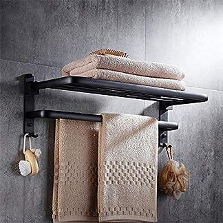 51 CLe043GL. SS324  - Estante de toalla espacio aluminio negro estante de toalla retro toalla de baño cuarto de baño libre de perforación barra de accesorios de baño