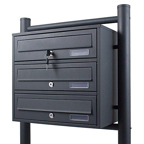 Preisvergleich Produktbild BITUXX® Stand-Briefkastenanlage Postkasten Letterbox Mailbox mit 3 Fächer Dunkelgrau