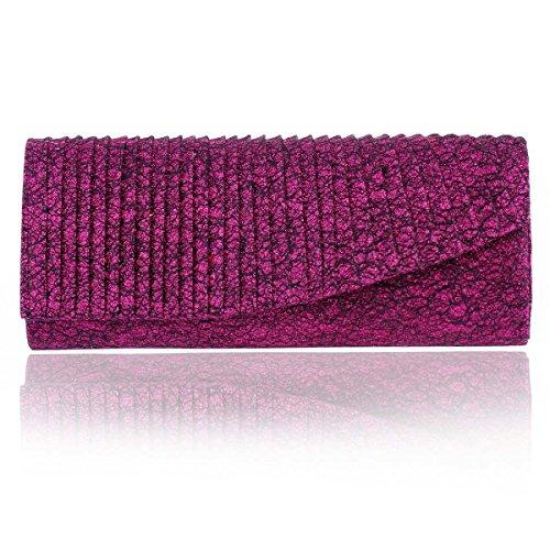 Damara Pochette Femme de Soirée Synthétique Rectangle Rayure Veine Enveloppe Antique violet