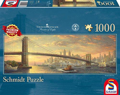Schmidt Spiele Puzzle 59476 59476-Puzzle Thomas Kinkade 1.000 Teile Brooklyn Bridge, New York, Panoramapuzzle, bunt