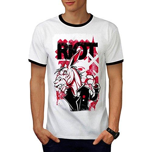 Vereinigtes Königreich Randalieren Esel Gangster Tier Maske Herren M Ringer T-shirt | (Kostüm Reiten Esel)