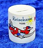 Spardosen bedruckt Keramik - Motiv Reisekasse mit Ihren Wunschnamen