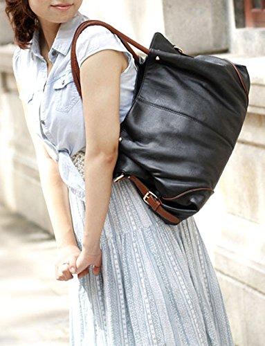 Wealsex Damen handtasche kunstleder schultertaschen groß 3pcs gesetzt Schwarz