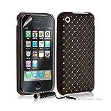 Seluxion - Housse étui coque souple tressée transparent pour Apple Iphone 3G/3GS couleur noir + mini stylet + Film protecteur
