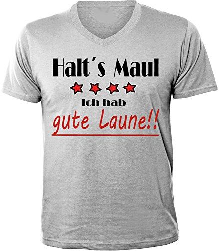 Mister Merchandise Herren Men V-Ausschnitt T-Shirt Gute Laune - Halt´s Maul Tee Shirt Neck bedruckt Grau