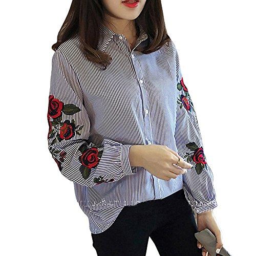 Dihope Printemps Automne T-Shirt Casual Tee-Shirt Mode Broderie Haut Pour Femmes Top à Manches Longues Col Roulé Chemisier de Loisir Bleu
