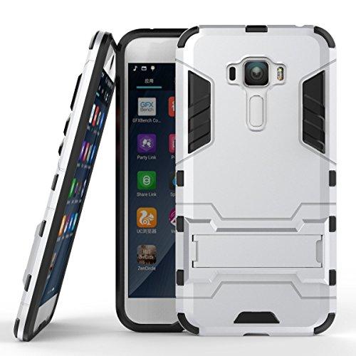 Hülle für Asus ZenFone 3 ZE552KL (5,5 Zoll) 2 in 1 Hybrid Dual Layer Shell Armor Schutzhülle mit Standfunktion Case (Silber)