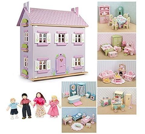 Le Toy Van Lavendel Haus Puppenhaus aus Holz mit Möbeln (6Sets Daisylane Möbel + Puppen)