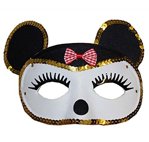 Islander Fashions Womens Cat Face Maskerade Maske Erwachsene venezianischen Karneval Kost�m Zubeh�r (wei�e Maus Maske mit Gold Pailletten) One Size -