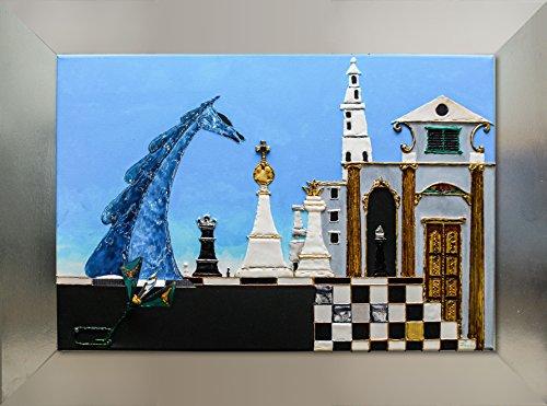 SCACCHI. Quadro 3D , cm 40 x 60, realizzato da Luciano Leo su tela pittorica con tecniche e materiali diversi. Lamine metalliche, resine, cristallI Swarovski e dorature impreziosiscono e rendono unica quest'opera.