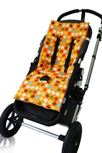 Tivoli Couture Plush Reversible Stroller Liner, Argyle Orange