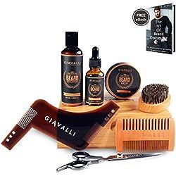 Kit Barba Cuidado por Giavalli [NUEVO] - Aceite para la barba (30 ml), bálsamo (60 g), brocha, peine, herramienta para la barba, tijeras, bolsa de viaje, caja de regalo de bambú y un libro electrónico