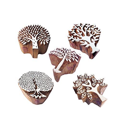5.6 Block (Indisch Gestalten Blume und Baum Holz Blöcke Drucken Stempel (Set von 5))