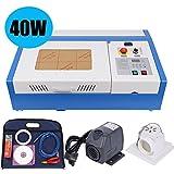 Ridgeyard 40W Laser del CO2 12x8 pulgadas USB Láser Cortador Cortar Máquina Grabadora Manual DIY Laser Engraving Machine Movible para Artesanía con Bomba de Agua (Paquete en estuche de madera)