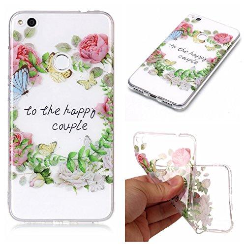 For Huawei P8 Lite 2017 Case Cover,Ecoway Coque de téléphone Doux Transparent Silicone Housse en silicone Housse de protection Housse pour téléphone portable pour Huawei P8 Lite 2017 - Roses vertes