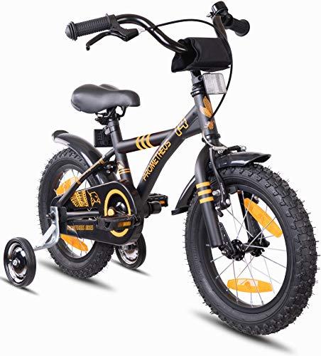Prometheus Kinderfahrrad 14 Zoll Jungen Mädchen Schwarz Matt Orange ab 4 Jahre mit Stützräder und Rücktritt - 14zoll BMX Modell 2019