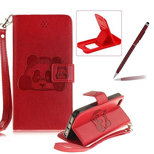 Für iPhone 5 5S SE 4Zoll Wallet Tasche Brieftasche Schutzhülle,Herzzer Stilvoll Jahrgang [Lovely Panda Prägung] Schutzhülle Wallet Case Design Lederhülle Zubehör im Bookstyle Cover Schale mit Ständer  Rot