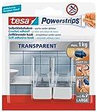 Tesa Powerstrips Haken, transparent/weiß, für max. 1kg, Packung mit 2 Haken