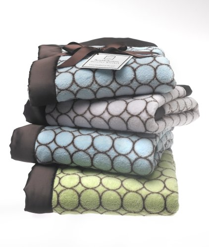SwaddleDesigns Fuzzy Stroller Blanket - Pastel Blue with Brown Mod Circles (japan import)