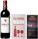 DKDS Collection Geschenkset-Genusszeit mit Sirius Rotwein, Premium Edel-Bitterschokolade von Hachez und Wein-Buch (1 x 0.75 l)