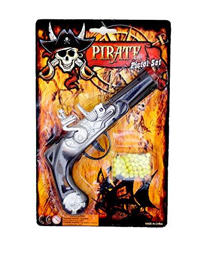 Piraten-Pistole Kugel-Pistole Pirates Kinder-Pistole 6mm Munition ab 3 Jahren Kinder-Kostüm Piraten-Kostüm Verkleidung Karneval Fasching Kinder-Gewehr Fluch -