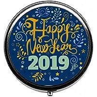 LinJxLee Happy New Year 2019 Round Pill Case Pill Box Tablet Vitamin Organizer Easy to Carry preisvergleich bei billige-tabletten.eu