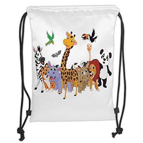 Bags,Kids,Colorful Jungle Animals Hippo Bat Parrot Giraffe Zebra Rhino Panda African Safari Themed Decorations Decorative, Soft Satin,5 Liter Capacity,Adjustab ()
