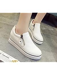Nueva capa del dedo del pie de la placa del cuero plano del talón del color sólido de la cremallera redonda calza los zapatos ocasionales , milky white , 8