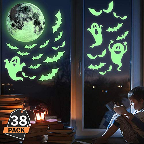 Kompanion 38-Stück Halloween im Dunkeln leuchtende Fenster-Abziehbilder Set, gruselige Dekorationen, Aufkleber und Dekor für ()