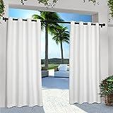 Exclusive Home Indoor/Outdoor mit Cabana Spitze Tülle Fenster Vorhang-Paar, Polyester, Winter-Weiß, 54x96